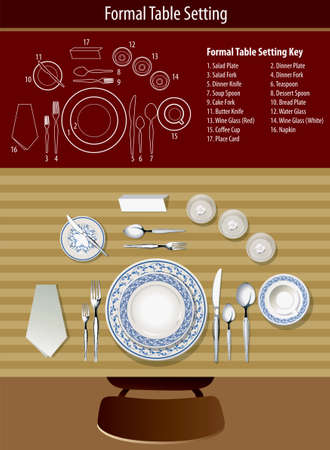 Illustrazione per How to set formal table - Immagini Royalty Free