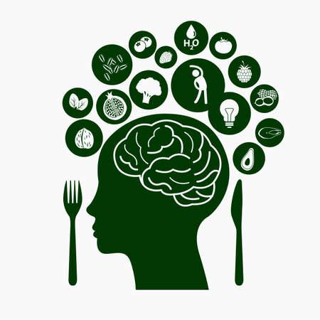 Illustration pour Best Food for Healthy Brain, Illustration symbolizes healthy food - image libre de droit