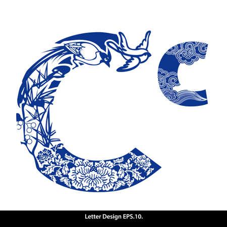 Ilustración de Oriental style alphabet tape C. Traditional Chinese style. - Imagen libre de derechos