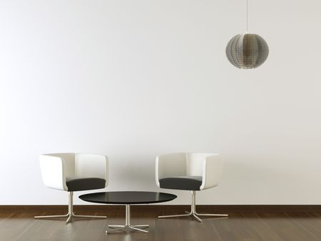 interior design two black and white chairs and table on white wall with pending lamp