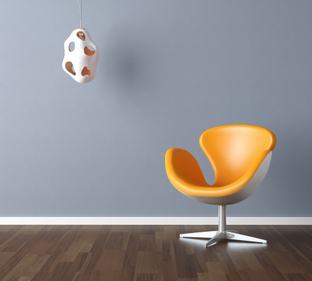 Photo pour Interior design scene with a modern yellow chair and lamp on pale blue wall, copy space in the wall - image libre de droit