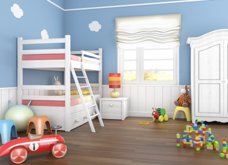 Children\'s room in blue walls with bunkbed and lots of toys on the floor