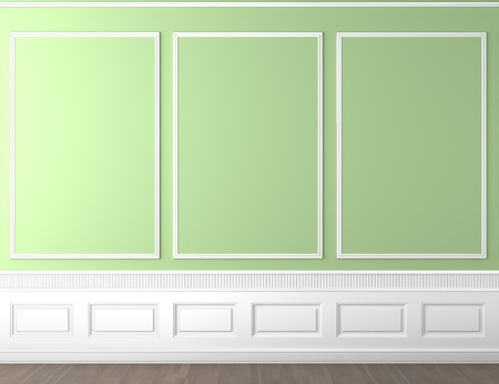 interior scene of empty green and white classic wall with copy space