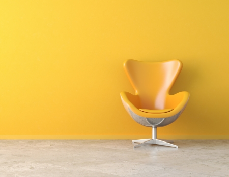 Photo pour yellow simple interior with chair and copy spaceon the wall - image libre de droit