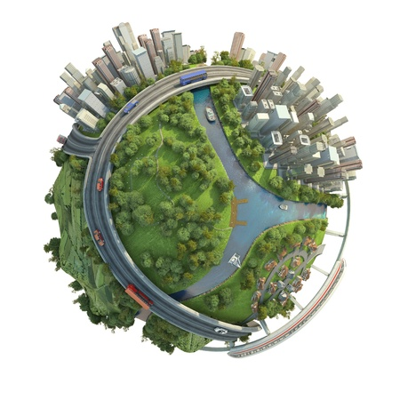 Foto de concept miniature globe showing the various modes of transport and life styles in the world, isolated on white background - Imagen libre de derechos
