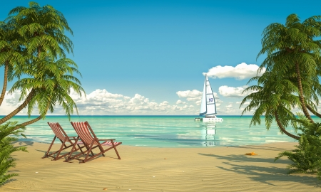Photo pour Frontal view of a caribbean beach with deck chairs and boat - image libre de droit