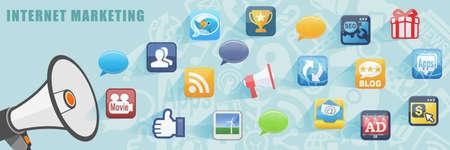 Foto de Internet Online Marketing Flat Design Concept Banner Background - Imagen libre de derechos