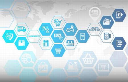 Photo pour Online Shopping E-commerce Concept Background - image libre de droit