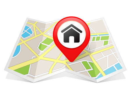 Photo pour Home House Real Estate Icon Map pointer Location Destination on map - image libre de droit
