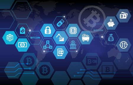Photo pour Bitcoin Electronic Crypto Currency Concept Background - image libre de droit