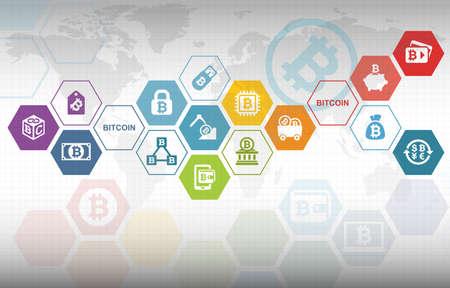 Foto de Bitcoin Electronic Crypto Currency Concept Background - Imagen libre de derechos