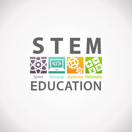 Foto de STEM Education Concept Logo. Science Technology Engineering Mathematics. - Imagen libre de derechos