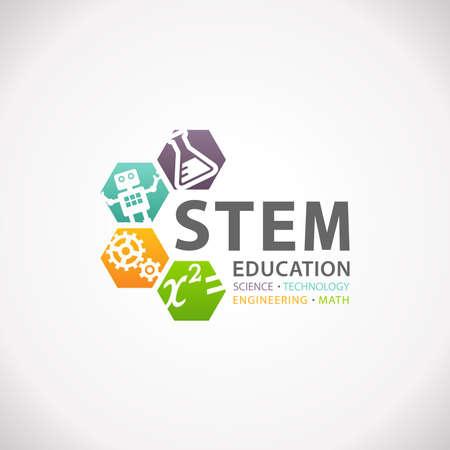 Photo pour STEM Education Concept Logo. Science Technology Engineering Mathematics. - image libre de droit