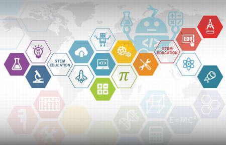 Photo pour STEM Education Background. Science Technology Engineering Mathematics. - image libre de droit