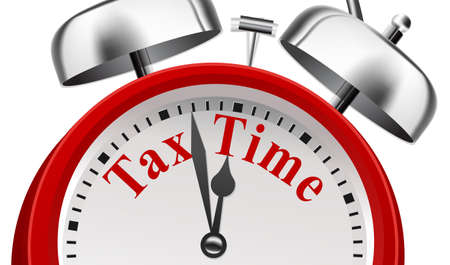 Foto de Tax Time Deadline Announcement Concept on white background - Imagen libre de derechos