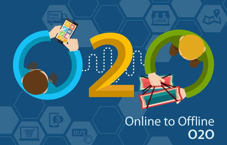 Photo for Online to Offline O2O Shopping Retail Experience Concept Infographic - Royalty Free Image