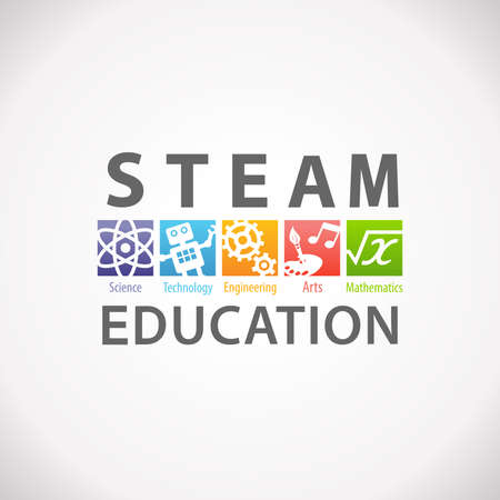 Photo pour STEAM STEM Education Concept Logo. Science Technology Engineering Arts Mathematics - image libre de droit