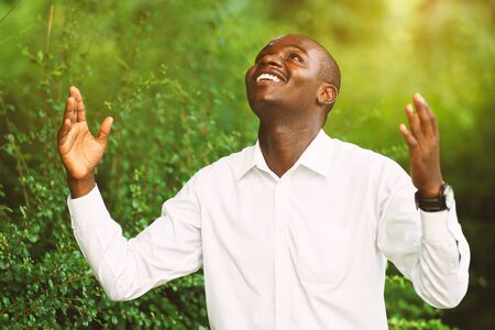 Photo for Smile african man praying for thank god. - Royalty Free Image