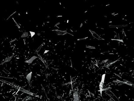 Foto de Pieces of Broken Shattered glass on black - Imagen libre de derechos