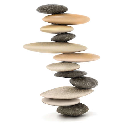 Ilustración de Stability and Zen Balanced stone tower vector illustration - Imagen libre de derechos