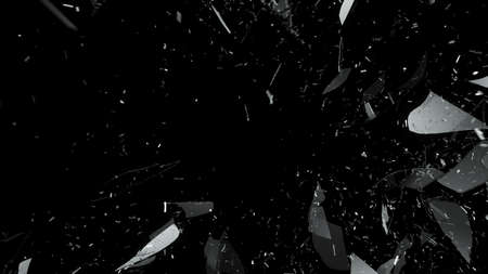 Photo for Breaking and Shattered glass on black. Large resolution - Royalty Free Image