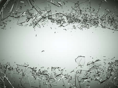 Photo pour Pieces of splitted or cracked glass on grey gradient background. Large resolution - image libre de droit