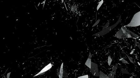 Foto de Shattered or cracked glass on black. Large resolution - Imagen libre de derechos
