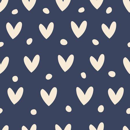 Ilustración de Seamless pattern with hearts on a blue background. - Imagen libre de derechos