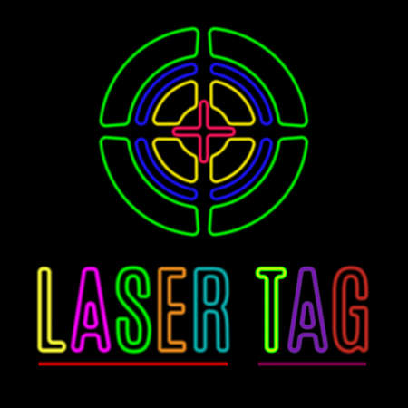 Illustration pour Vector emblem of laser tag in neon style. - image libre de droit
