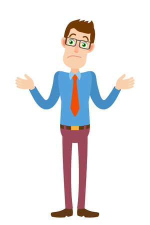 Ilustración de I don't know. Businessman shrugging his shoulders. Full length portrait of Cartoon Businessman Character. Vector illustration in a flat style. - Imagen libre de derechos