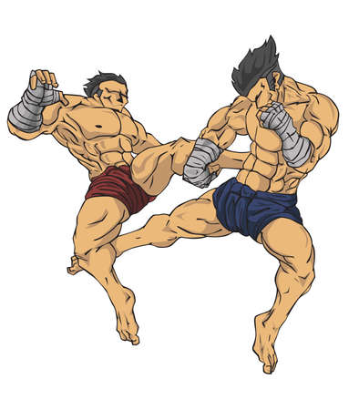 Muay thai or thai kickboxing. Martial art vector and illustration