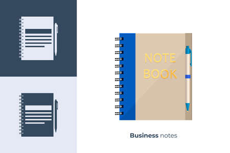 Illustration for Vector icon of business notebook in flat style - Royalty Free Image
