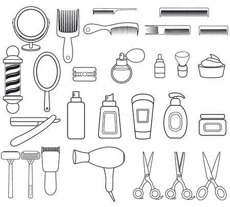 Illustrazione per Set of outline icons with barbershop equipment. Barbershop collection with with comb, scissors, oil,mirror,hairdryer, razor, shaving brush, pole, scissors, bottle spray Linear icons - Immagini Royalty Free