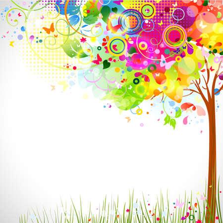 Foto de summer composition with multicolor tree  - Imagen libre de derechos