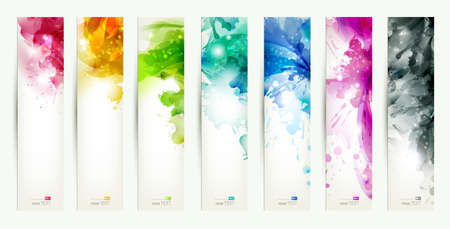 Illustration pour set of seven varicolored banners, abstract headers with blots  - image libre de droit