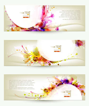 Illustration pour Set of three headers  Abstract artistic Backgrounds - image libre de droit