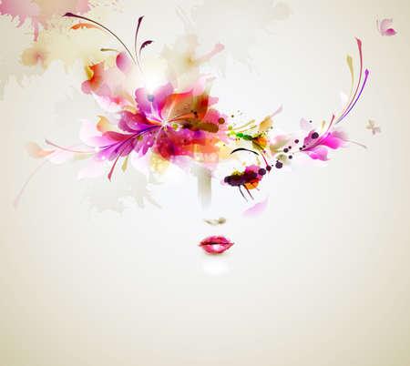 Illustration pour Beautiful fashion women with abstract design elements - image libre de droit