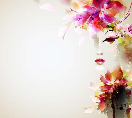 Ilustración de Beautiful fashion women with abstract design elements - Imagen libre de derechos