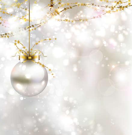 Ilustración de light Christmas background with light evening ball - Imagen libre de derechos