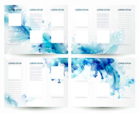 Illustration pour Brochure backgrounds with Abstract blue elements  - image libre de droit