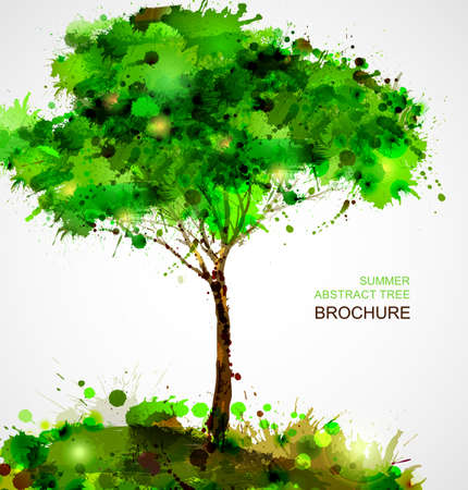 Illustration for Green abstract tree forming by blots  - Royalty Free Image