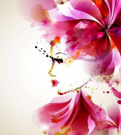 Illustration for Beautiful fashion women with abstract hair and design elements - Royalty Free Image