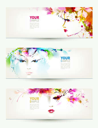 Photo for Beautiful women faces on three headers  - Royalty Free Image