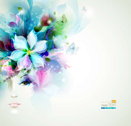 Ilustración de Beautiful fashion women face with natural elements, flowers and butterflies - Imagen libre de derechos