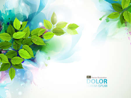 Illustration pour banner with fresh green leaves  - image libre de droit