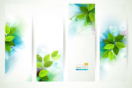 Illustration pour headers with fresh green leaves  - image libre de droit