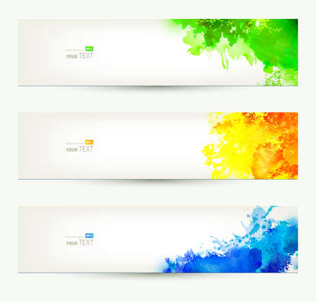 Illustration for set of three colorful headers  Season banners   - Royalty Free Image