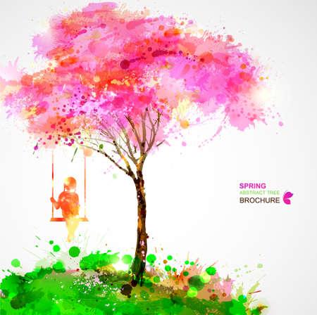 Ilustración de Spring blossoming tree. Dreaming girl on swing. - Imagen libre de derechos