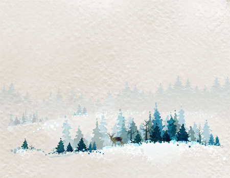 Illustration pour winter landscape with fir forests and deer - image libre de droit