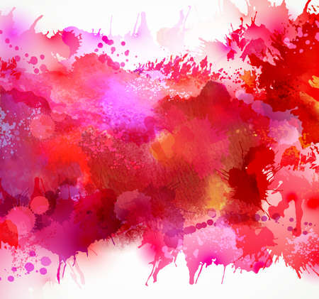 Illustration pour Bright watercolor stains with red blots - image libre de droit